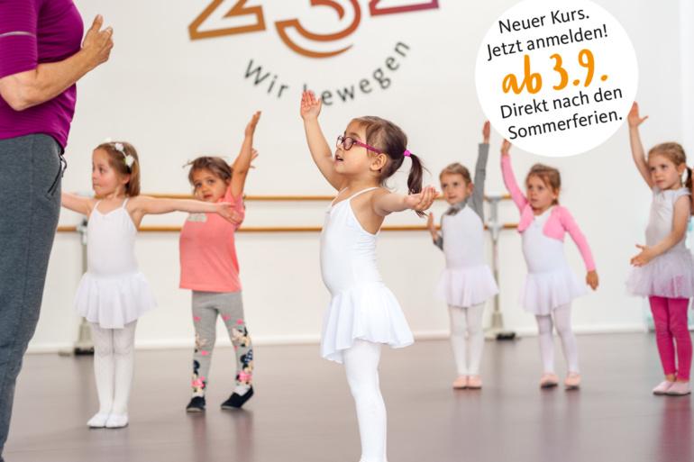 Neuer Kurs: Kreativer Kindertanz ab 3. 9. 2018 für 3–4jährige im Studio 232