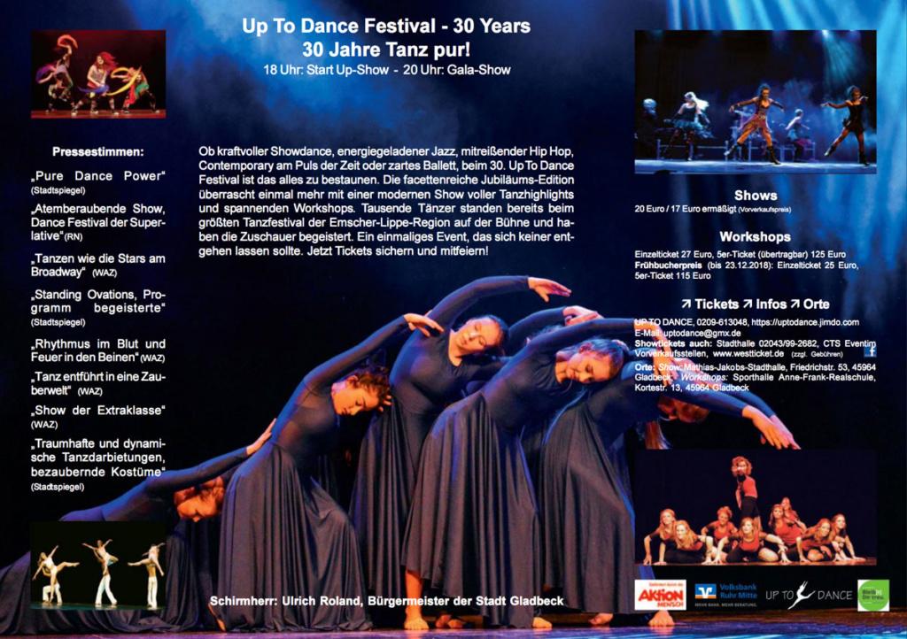 Die Innenseite des Flyers zum 30. Up-To-Dance-Festival am 9. und 10. 2. 2019 in Gladbeck. Hauptmotiv darin unsere Mädchen der Showgruppe [Ri:'Set].