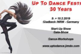 Das Key Visual der 30. Ausgabe des Up-To-Dance-Festivals in Gladbeck am 9. und 10. Februar 2019.