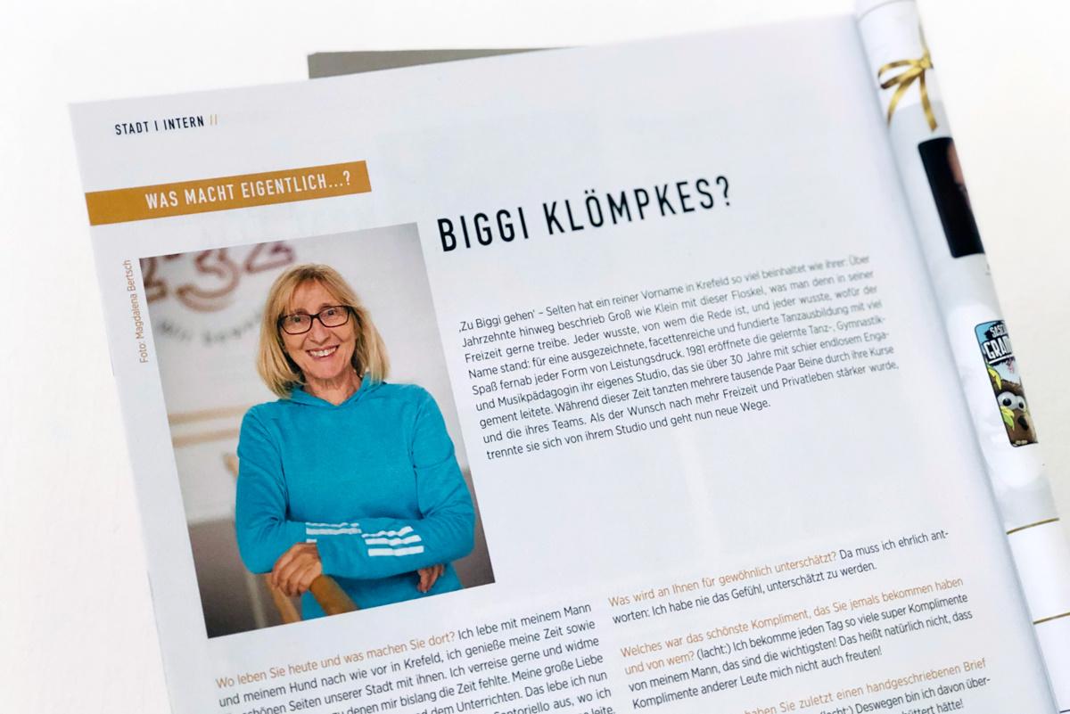 Der Einstieg in das Interview des KR-ONE Magazins mit Biggi Klömpkes