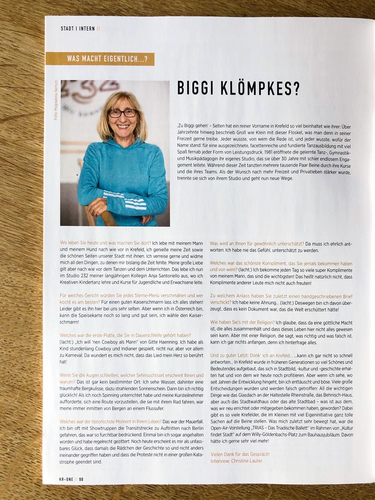 Das Interview des KR-ONE Magazins 12_2019 mit Biggi Klömpkes
